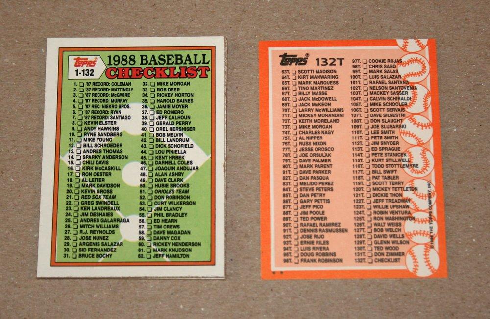 1988 TOPPS BASEBALL - Checklist Set + Traded Series
