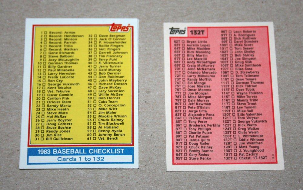 1983 TOPPS BASEBALL - Checklist Set + Traded Series