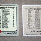 1983 FLEER BASEBALL - Checklist Set