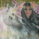 Unicorn Faery 24 x 16 FINE ART CANVAS FRAMED PRINT