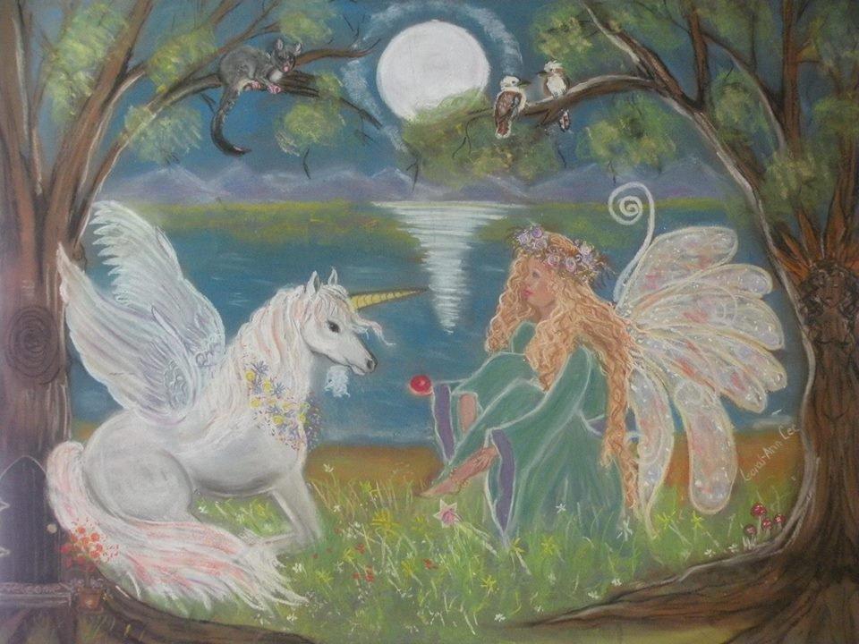 Unicorn Maiden 24 x 16 FINE ART CANVAS FRAMED PRINT