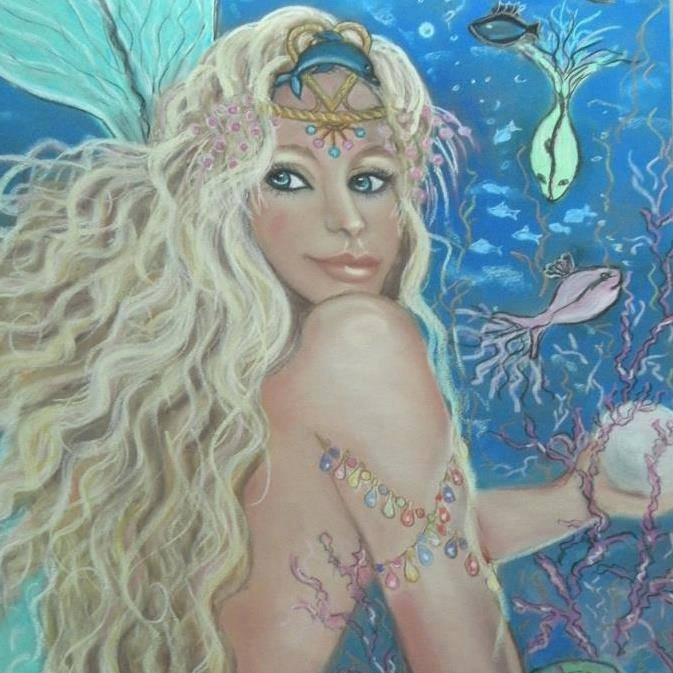 Mermaid Two 24 x 16 FINE ART CANVAS FRAMED PRINT