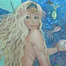 Mermaid Two 24 x 16 FINE ART CANVAS FRAMED PRINT