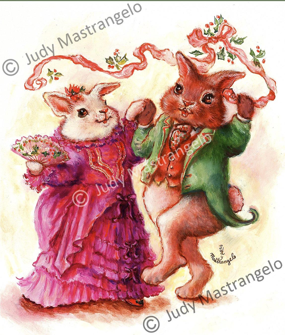 Christmas Bunny Dancers 24 X 16 FINE ART CANVAS FRAMED PRINT