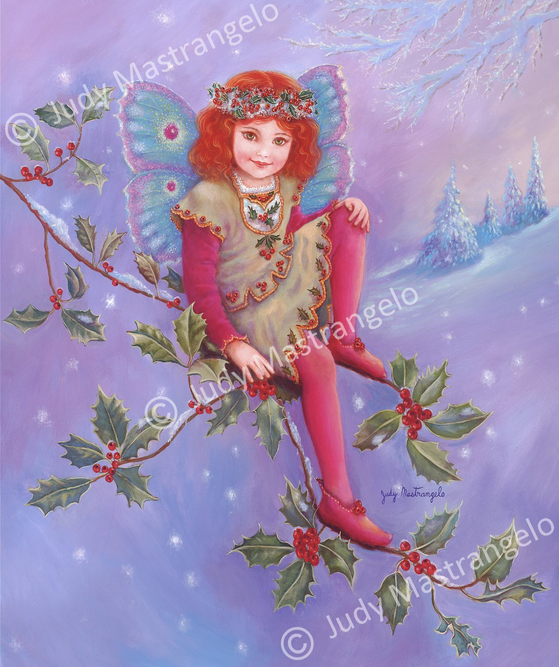 "Holly Fairy"" 12 X 8 FINE ART CANVAS FRAMED PRINT"