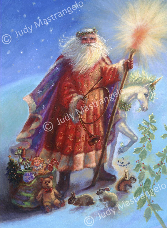 Santa and Unicorn 12 X 8 FINE ART CANVAS FRAMED PRINT