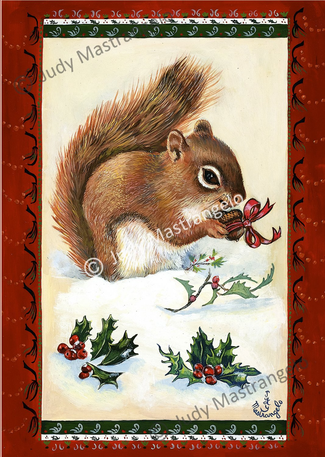 Squirrels Christmas Gift 12 X 8 FINE ART CANVAS FRAMED PRINT