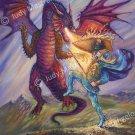 """Blue Knight and Dragon"" print 20x24"