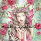 Butterfly Kisses Peony and Swallowtail Flowers  24 x 16 CANVAS FRAMED PRINT