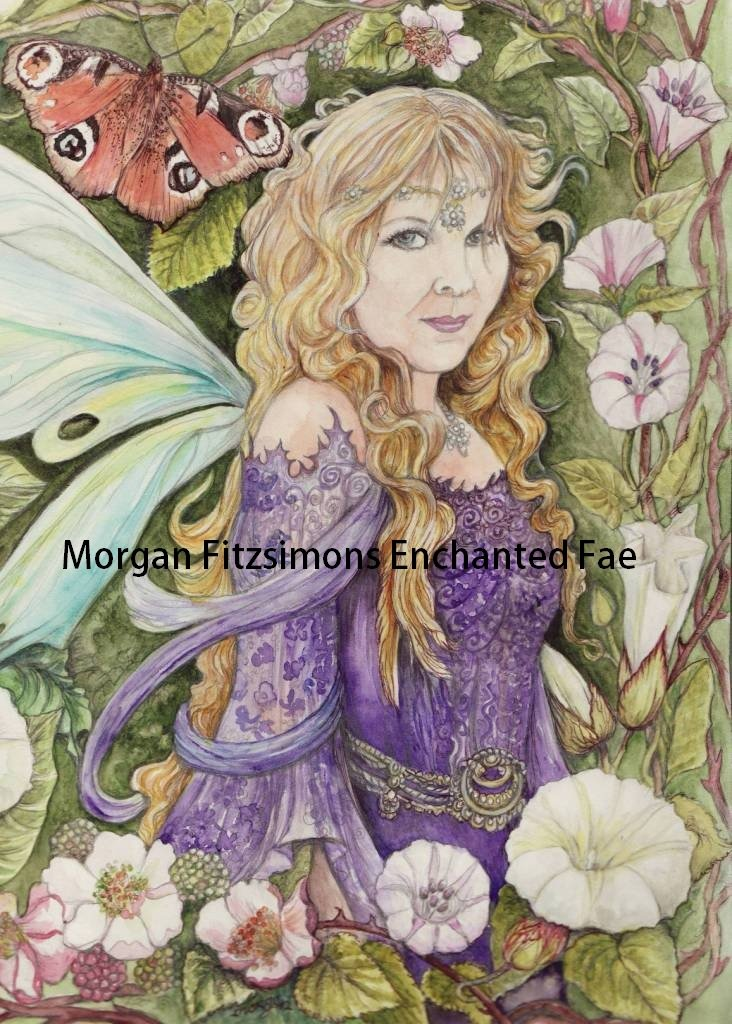 Butterfly Kisses Woodland Fairy 24 x 16 CANVAS FRAMED PRINT