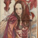 Kestia with Red Dragon 24 x 16 FINE ART CANVAS FRAMED PRINT