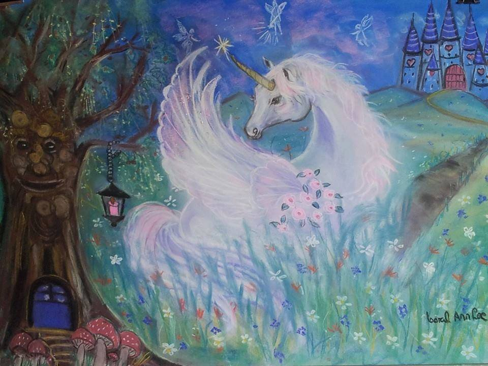 Unicorn 24 x 16 FINE ART CANVAS FRAMED PRINT