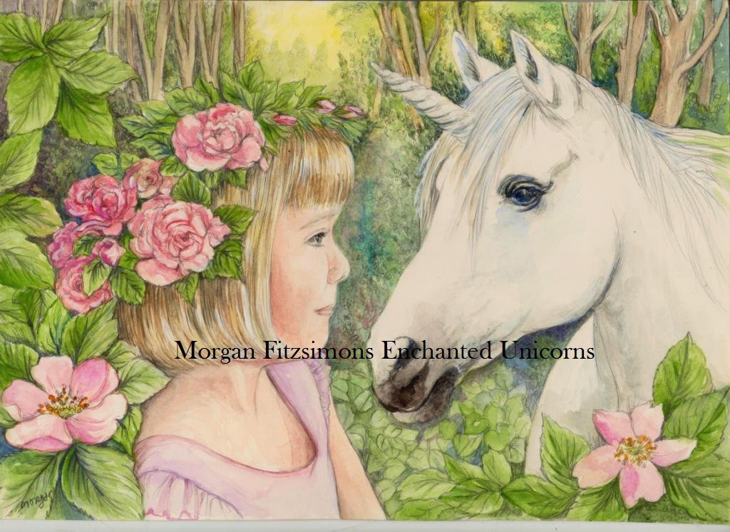 Fairy Child with Unicorn 24 x 16 FINE ART CANVAS FRAMED PRINT
