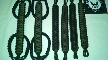 Jeep Wrangler 4 Door Paracord Grab handles OD green & black reverse For Roll Bar