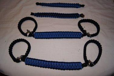 Jeep Wrangler JK, JKU 4 Door Paracord Grab Handles blue and black Roll Bar