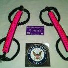 Jeep Wrangler JK Pink & black reverse wrap Paracord  Grab Handles Roll Bar