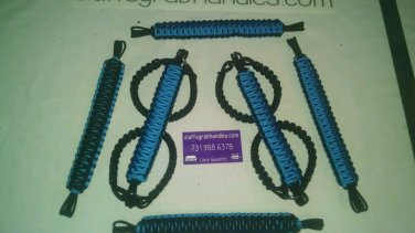 Jeep Wrangler 4 Door Hydro Blue & black Paracord Grab handles For Roll Bar
