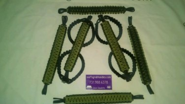 Jeep Wrangler 4 Door Paracord Grab handles Rescue Green &  Black For Roll Bar
