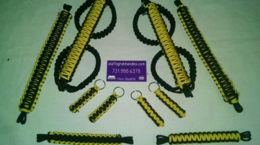 Jeep Wrangler JKU 4 Door Paracord Grab Handles yellow & black Roll Bar