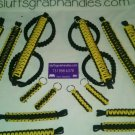 Jeep Wrangler JKU 4 Door Paracord Grab Handles Yellow & Black Roll Bar FULL SET