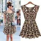 Womens Summer Casual Pleated Leopard Print Dress