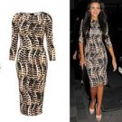 Tribal Celeb Leopard Print Long Midi Pencil Dress