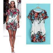Short Sleeve Floral Pattern Dress Celebrity Design
