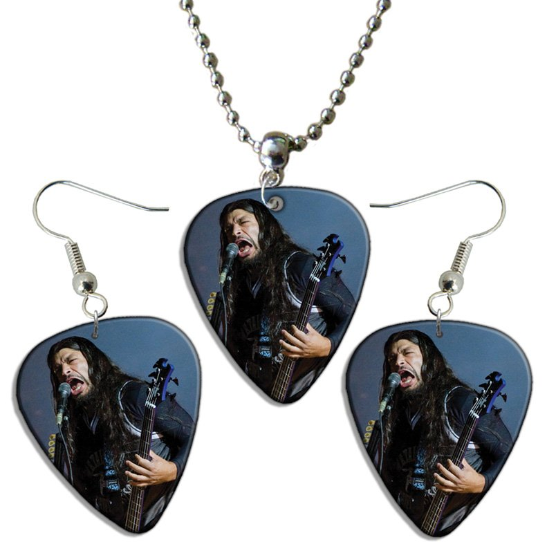 metallica guitar plectrum playable earrings necklace set licensed live performance a