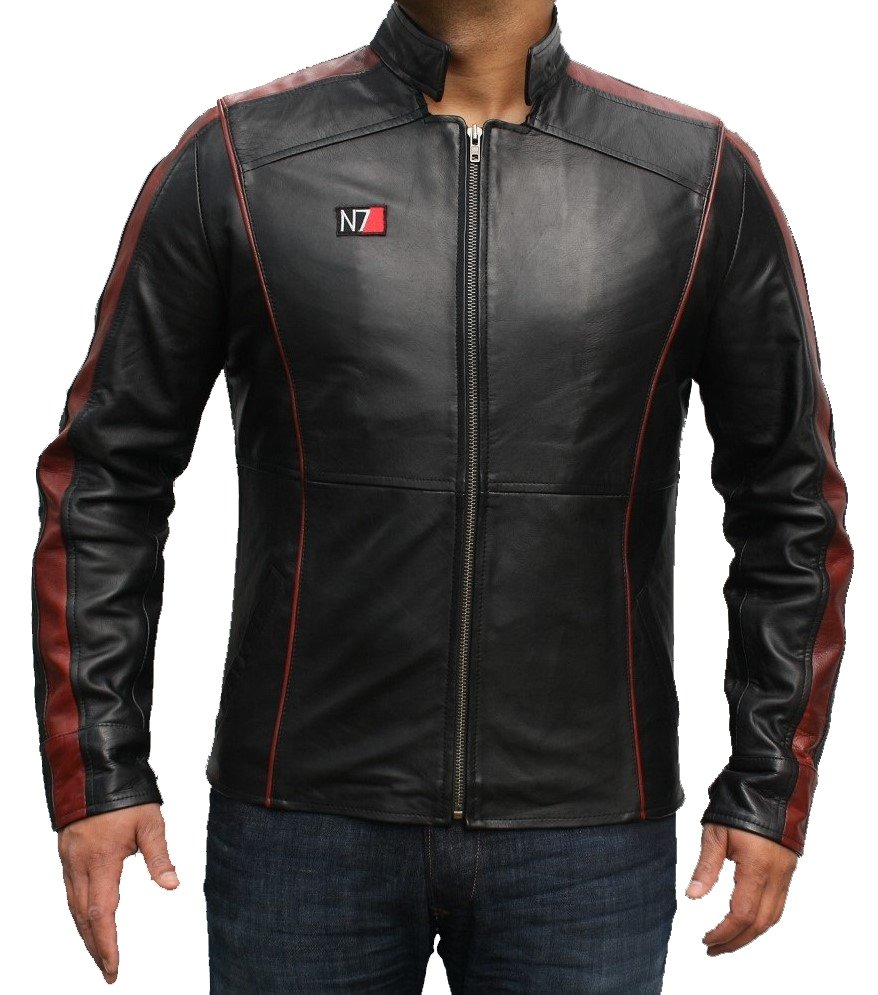 ens N7 Mass Effect 3 Commandar Shepard Balck Genuine Leather Jacket Hand Made All Sizes Available