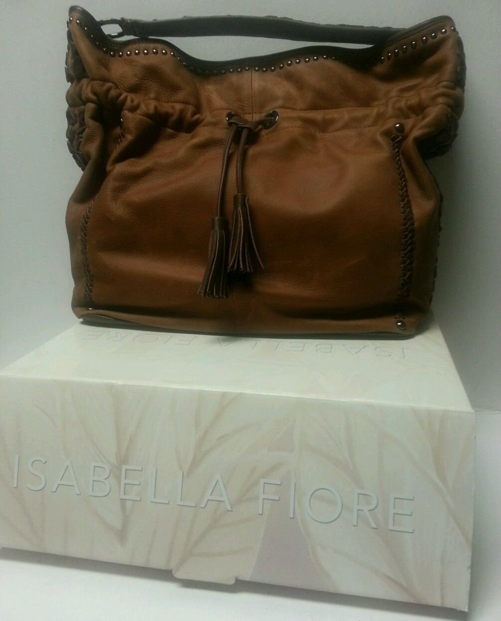 Isabella Fiore Brown Leather Sedona Hobo Handbag
