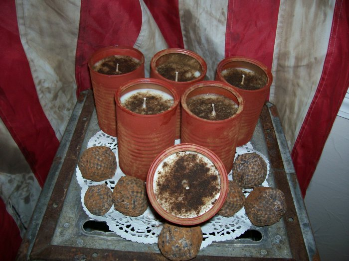 Primitive ~ Grubby Bean Can Candles ~ Custom Scented