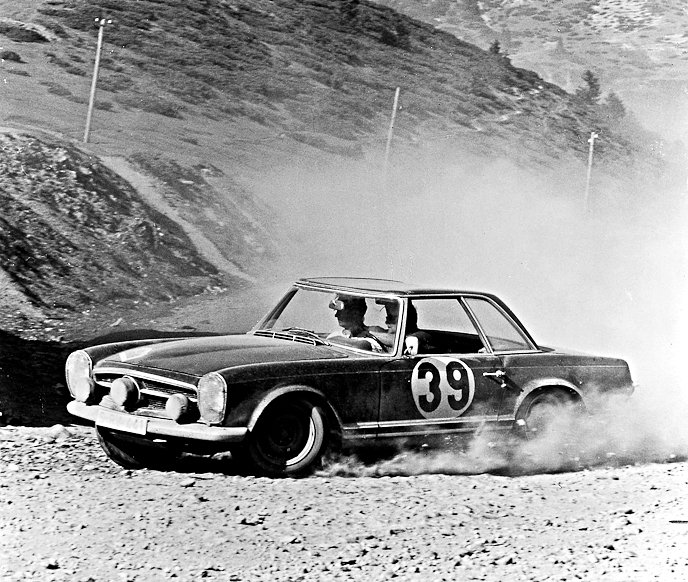 Bohringer-Kaiser Mercedes-Benz 230SL 1963 Liége-Sofia-Liége winners - Rally Car Photo Print