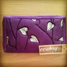 real suede clutch bag & cell phone organizer with ethnic embroidery motif
