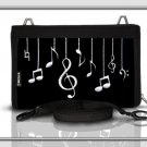 genuine black suede clutch bag &organizer with musical embroidery motif