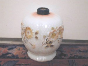 Early Milk Glass Oil Lamp  Diamond Pattern Fostoria