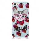 Flower and Cat Aluminium Plastic Hard Back Case for iPhone 5/5S