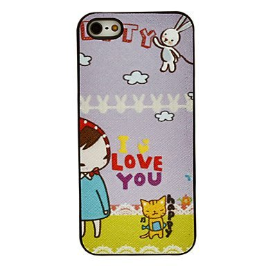 Adorable Little Girl and Cat Aluminium Plastic Hard Back Case for iPhone 5/5S