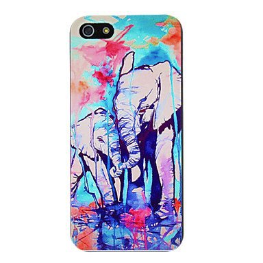 Watercolor Drawing of Elephant Mother and Child  Aluminium Plastic Hard Back Case for iPhone 5/5S