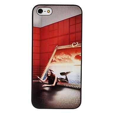 Mermaid Pattern Aluminium Plastic Hard Back Cover Case for iPhone 5/5S