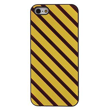 Free Shipping Yellow and Brown Stripes Aluminium Plastic Hard Back Cover Case for iPhone 5/5S
