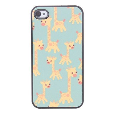 Free Shipping Giraffe Pattern Aluminium Plastic Hard Back Cover Case for iPhone 4/4S