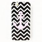 Free Shipping Punk Black and White Strip Anchor Hard Back Cover Case for iPhone 4/4S