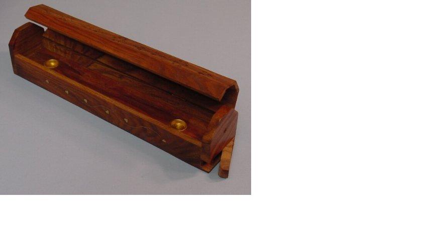 Hand Made Carved Wood Wooden Coffin Box Incense Sticks Burner Holder Stand Vine