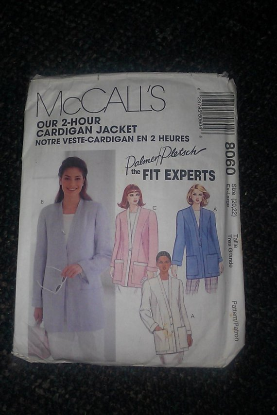 McCall's 2 Hour Cardigan Jacket Palmer Pletsch 8060 Pattern 20-22 Ex Large