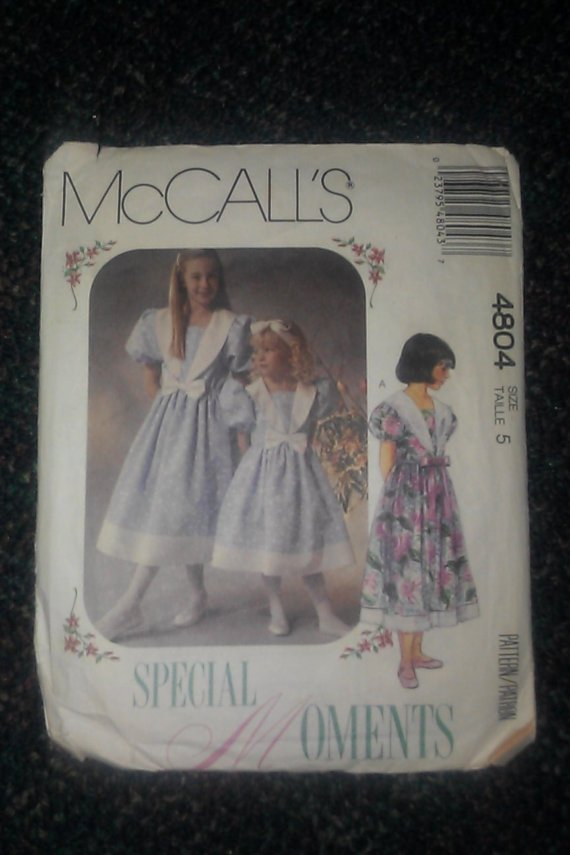 Mccall;s Special Moments 4804 Size 5 Chldren and Girls Dresses Dress Uncut