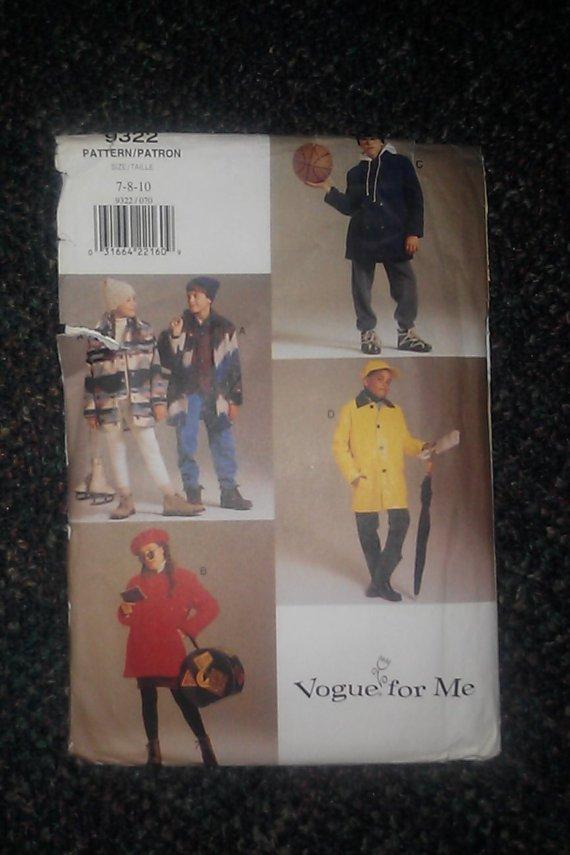Vogue For Me Pattern 9322 7-8-10 Uncut Kids Coat Vest Uncut