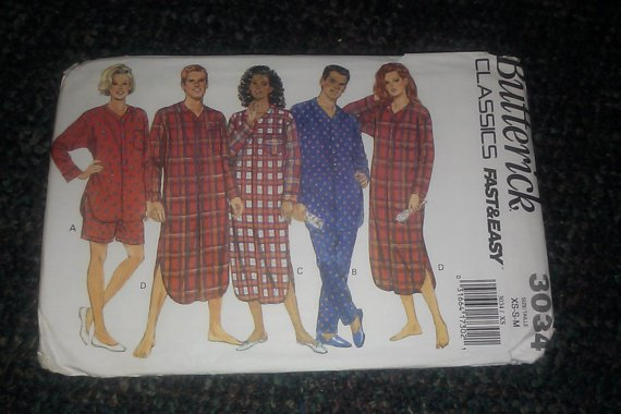 BUTTERICK Misses Mens Pajamas Nightshirt Top Pants + Pattern 3034 UC xs-s-m