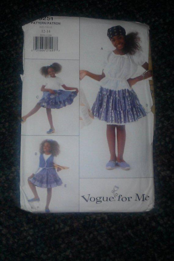 Vogue 9251 Sewing Pattern Girl's Vest Dress Top & Skirt Size 12~14 Pattern