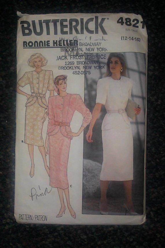 Butterick 4821 Ronnie Heller 12,14,16 Misses Top Skirt