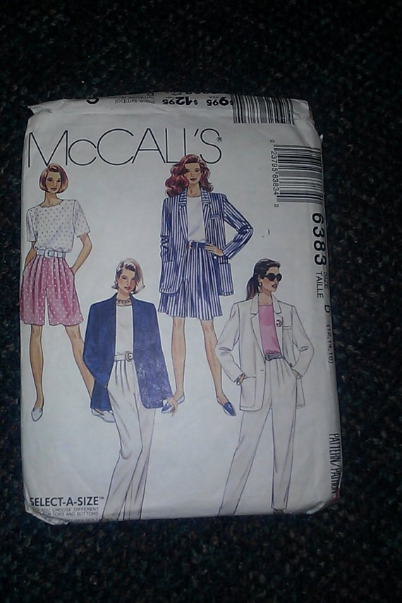 McCall's 6383 Ladies Walking Shorts Tapered Pants Jacket Blouse Pattern 12,14,16 CUT